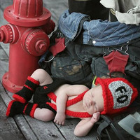 new year clothing newborn baby cosplay costume photography accessories make up dress suits fireman Christmas party costume