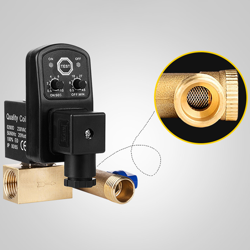 1/2 Inch Dn15 Electric Timer Auto Water Valve Solenoid Electronic Drain Valve For Air Compressor Condensate #