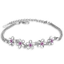 LUKENI Trendy Pink Crystal Flower Women Bracelets Accessories Charm 925 Sterling Silver Anklets For Girl Lady Christmas Gift Hot
