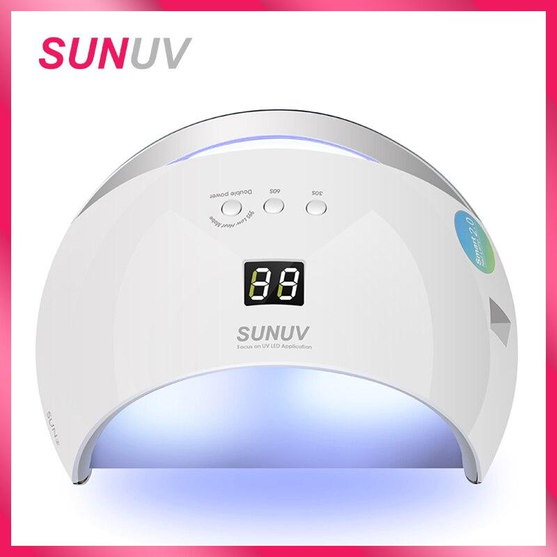 SUNUV SUN6 умная лампа ногтей светодио дный УФ-лампы Барабан Металлический дно ЖК-дисплей таймер Multicolors для отверждения УФ-гель для ногтей Nail Art и...