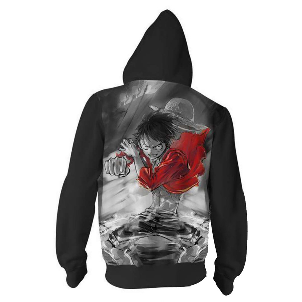 Japan anime sweatshirts one piece luffy cosplay costume autumn men women anime 3d printing zipper jacket hooded sweater coats in anime costumes from novelty