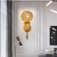 Luxury Golden Flower Loft Wall Lamp Hotel Room Villa Hall Wall Sconce Creative Designer Living Dining Wall Lights Free Shipping