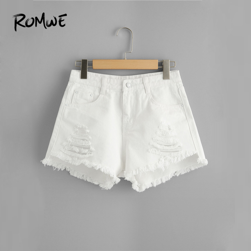 ROMWE Frayed Edge Ripped Denim   Shorts   2019 Great White Women Summer   Shorts   Fashion Glamorous Female Button Fly   Shorts