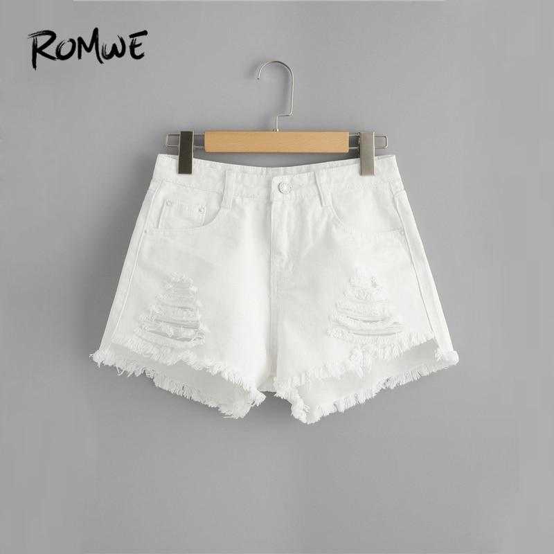 ROMWE Frayed Edge Ripped Denim   Shorts   2019 Great White Women Summer   Shorts   Fashion Glamorous Female Button Fly   Shorts