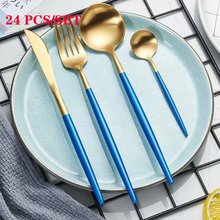 Spklifey Steel Cutlery Set Gold Stainless Kitchen Knife Fork Spoon