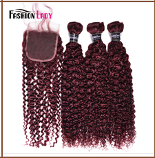 HTB174uadwaH3KVjSZFjq6AFWpXaz Fashion Lady Pre-Colored Ombre Brazilian Hair 3 Bundles With Lace Closure 1B/ 99J Straight Weave Human Hair Bundle Pack Non-Remy