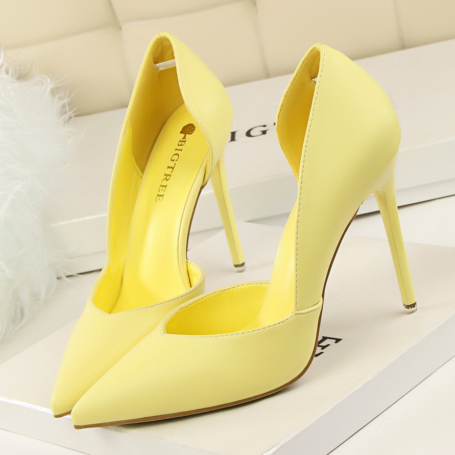BIGTREE 2018 Women 10cm High Heels Genuine Leather Pumps Female Escarpins Elegant Sweet Yellow Pink Shoes Stiletto Cheap Heels bigtree summer autumn women pumps elegant show thin heels stiletto suede pointed side hollow female high heels shoes g3168 6