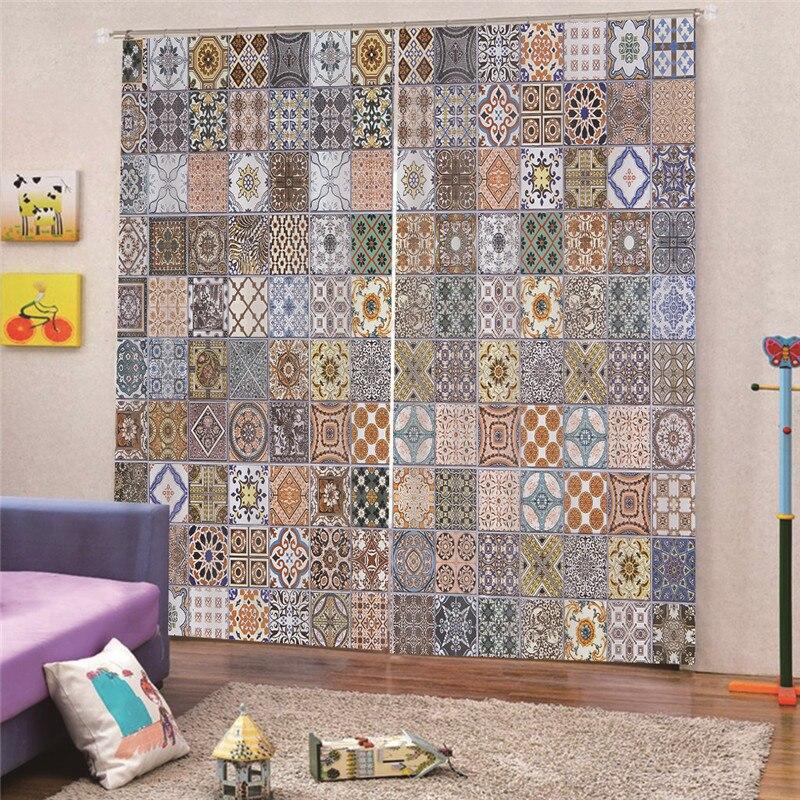 3D Digital Print Patterns Modern Curtains Living Room Kitchen Bedroom Blackout Kids Window Panel Custom Cloth Decor Draps AP26