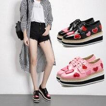 Designer Creepers Love Heart Autumn Women Flats Platform Shoes Wedge Square Flatform Oxford Loafers Lace Up Chiara Ferragni