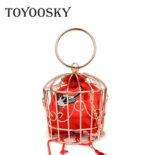 TOYOOSKY NEW design womens Birdcage Evening Bag Clutch Metal Frame Embroidery Bucket Mini Purse women Gold tassel Handbag