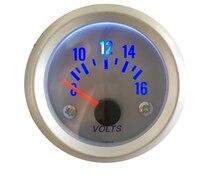 2 52mm Universal Car Black Analog Voltage Volts Meter Gauge 8 16V LED Light Silver Face