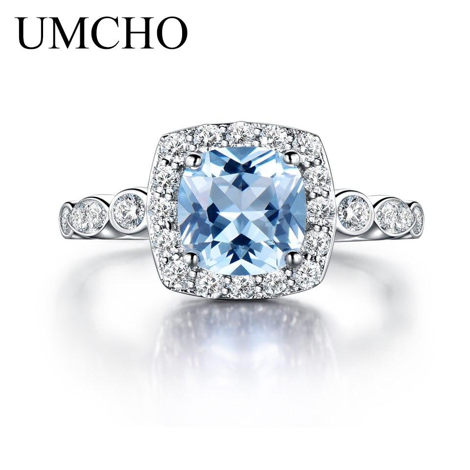 UMCHO Real S925 Sterling Zilveren ringen voor vrouwen Blue Topaz Ring - Fijne sieraden - Foto 3