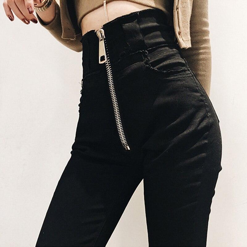 High Waist Black Women Jeans Korean Fashion Woman Elastic Stretch Jeans Female Washed Denim Skinny Pencil Street Cotton Jeans