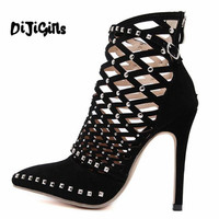 New Arrival Roman Sandals European Cut Outs Gladiator Rivet High Heels Sexy Genova Stiletto Ankle Cool