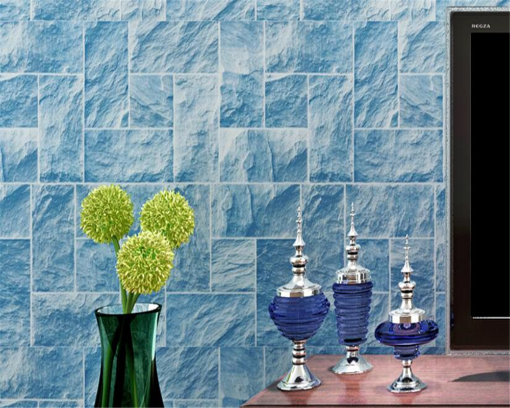 beibehang Brick Nonwovens papel de parede Wallpaper Mediterranean Living Room Background 3d Wallpaper Vintage Striped Wall paper beibehang mediterranean blue striped 3d wallpaper non woven bedroom pink living room background wall papel de parede wall paper
