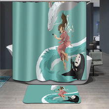 Anime Catoon Doormat Shower Curtain Set Bathroom Waterproof Polyester Fabric Rug Home Decor