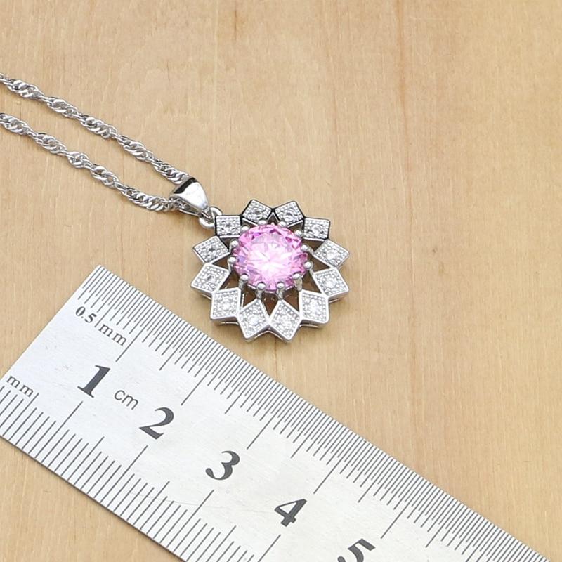 33831ab2b8a9 Comprar Sol joyería de plata 925 hermosa rosa cúbicos Zirconia joyería  establece para las mujeres pendientes colgante anillos pulsera collar  Online Baratos.