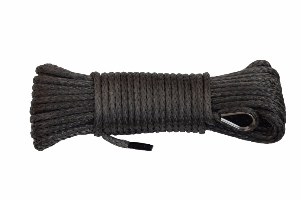 Grey 1/4*50ft Synthetic Winch Rope,UHMWPE Rope,ATV Winch Cable,ATV Winch Line,Off Road Rope