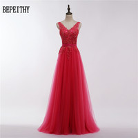 Robe De Soiree Sexy 2017 Red Lace Beading Backless Long Evening Dresses Bride Banquet Elegant Floor