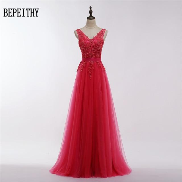 b5ca86e63c7 BEPEITHY vestido De fiesta Sexy 2019 rojo encaje sin espalda vestidos De  noche largos novia banquete