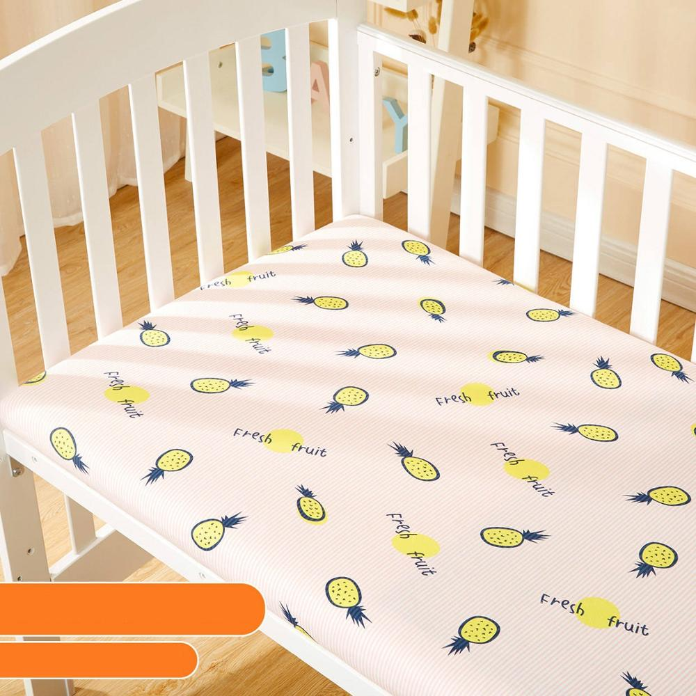 2019 Baby Crib Fitted Sheet Soft Knitting Cotton Baby Sheet Easy Clean Newborn Cot Mattress Cover Cartoon Toddler Bedding Set