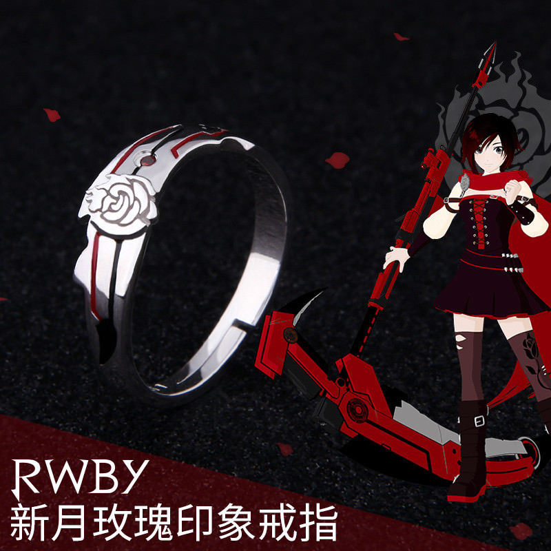 Anime Rwby Volume 2 Sterling Silver Rings S925 Ruby Rose Cosplay Gift Jewelry Props Size 7 8