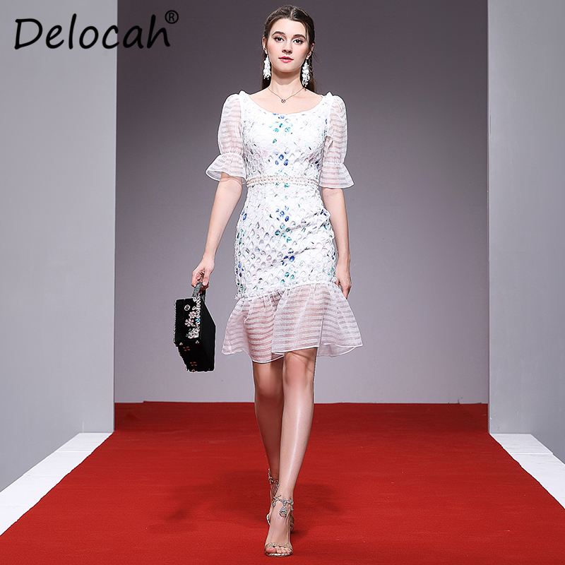 Delocah Women Spring Summer Dress Runway Fashion Designer Half Sleeve Gorgeous Lace Printed Splice Slim Short