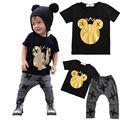 Cabritos de la Ropa Del Niño de Los Bebés de Mickey Caliente Tops t-shirt + Legging Pant Trajes Set