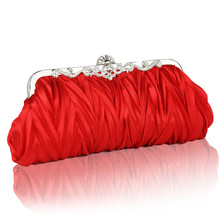 Fashion Elegant Evening Bags Handbag Clutch Ladies Purse Ruffled Bag Bridesmaid Wedding Bags Red Crossbody Bag SMYCYX-A0001