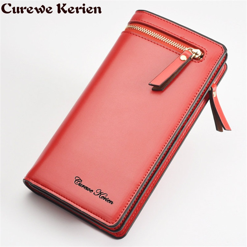 DUDINI Hot sale PU Leather Women Wallets Female With Double Zipper Hasp Large Capacity multifunctional Ladies Purse Card Holder