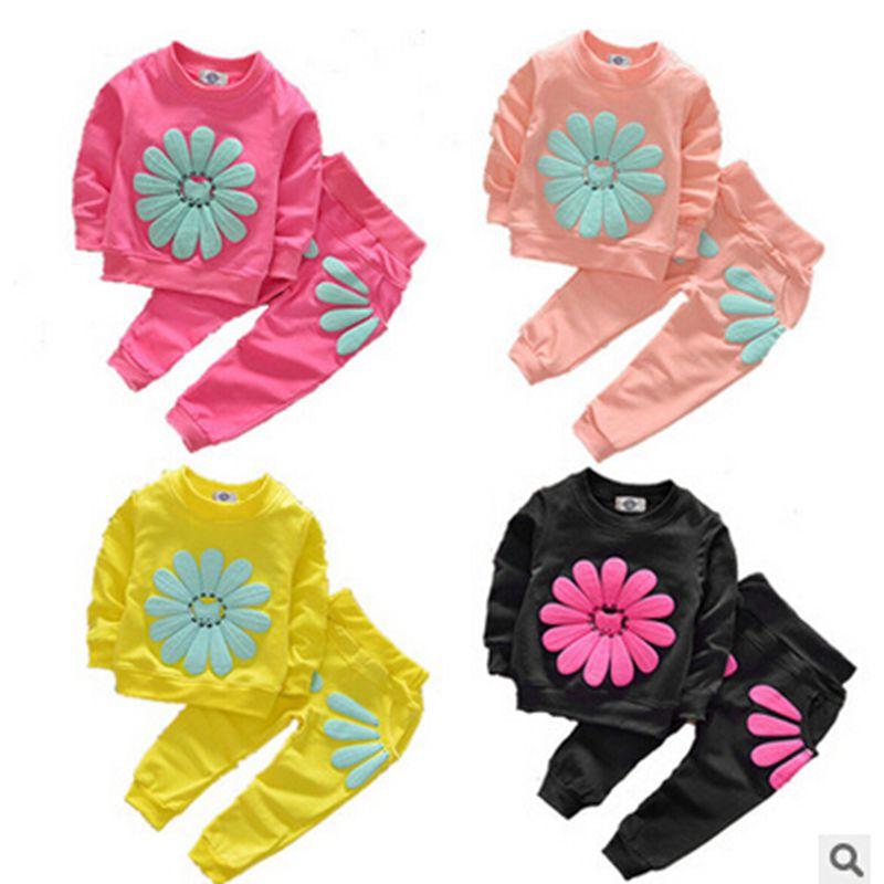 Yeni Bahar Sonbahar Çocuk Giyim Setleri Bebek Kız Pamuk Uzun Kollu Elbise Çocuk Moda Büyük Çiçek Coat + Pantolon 2 adet