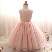 Children Girl Clothes Flower Kids Dresses Baby Girl Summer Tulle Dress Girls Knee Length Pink