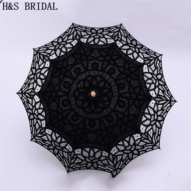 H&S BRIDAL Sun Lace Umbrella Parasol Embroidery Bride Umbrella White Wedding Umbrella Ombrelle Dentelle Parapluie Mariage