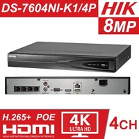 Hikvision 4 Channel CCTV System 4CH NVR POE DS 7604NI K1/4P 1SATA 4 POE Ports HDMI and VGA Embedded Plug & Play Video Recorder