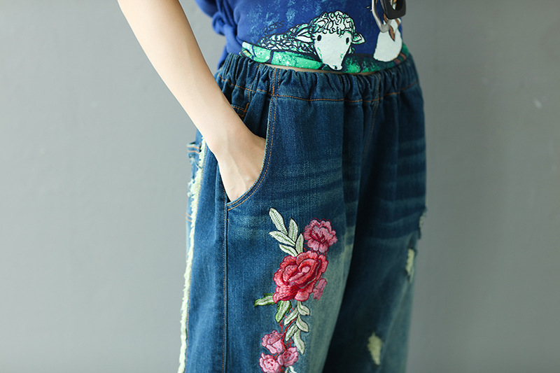 Acquista Jeans Denim 2018 Donna Pantaloni A Vita Media Pantaloni Donna Donna Jeans Strappati Jeans Larghi Jeans Da Donna Taglia Forte A $45.96 Dal