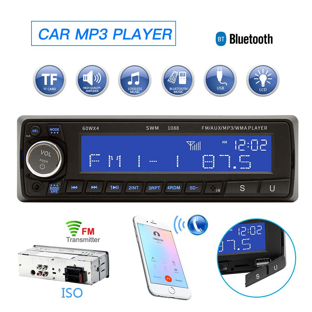 Radio Car Autoradio Bluetooth Car Radio Stereo 1 Din Auto Audio Aux USB TF FM LCD Car MP3 Player with Remote Controller DC 12V