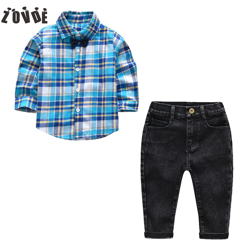 Boys Clothes Set Boutique Outfits Autumn Kids Boy Clothing Long Sleeve Plaid Shirts+Jeans 2PCS Suits Gentleman Baby Boys Clothes 2018 new arrival boy suits england style boys blazer long sleeve plaid for kids clothes