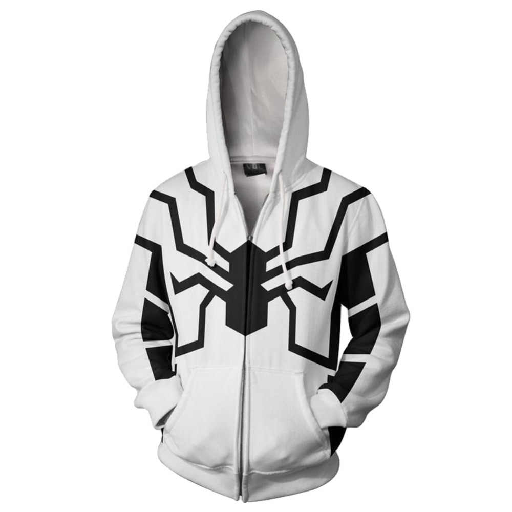 Marvel venom 프린트 후드 티 스웨터 스파이더 프린트 자켓 까마귀 독이 코스프레 코트 남성 두꺼운 지퍼 스웨터 할로윈 hoddie