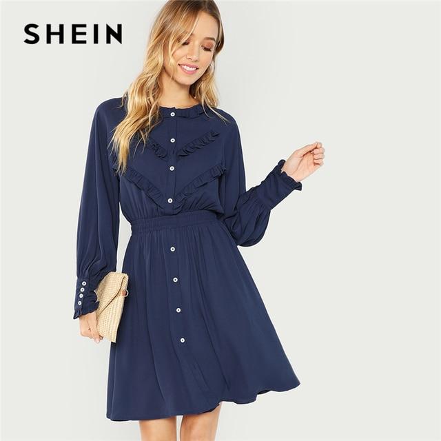 837b0aafc1 SHEIN Navy Office Lady Elegant Ruffle Detail Button Front Natural Waist  Long Sleeve Solid Dress 2018 Autumn Minimalist Dresses