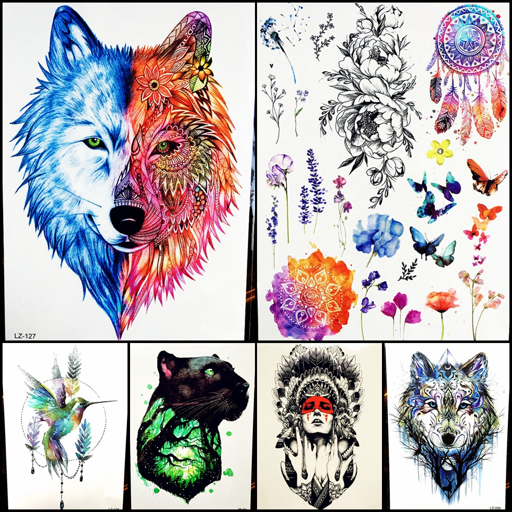 25 Pattern Flash Tribal Wolf Warrior Temporary Tattoo Feather Blue Water Transfer Fake Waterproof Men Tattoo Sticker Girl HLZ127