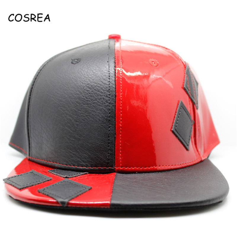 Movie Suicide Squad Harley Quinn Leather Hat for Girls Mens Baseball Cap Men Visor Women Sun Hat Female Cosplay Costumes