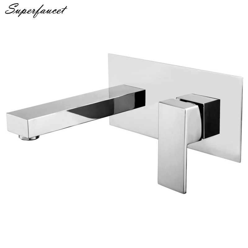 Superfaucet Brass Chrome Single Handle Bathroom Sink Faucets,Basin Mixer Taps,Wall Mounted Cold and Hot Water Taps HG-4844 single handle deck mounted brass chrome bathroom basin sink faucet mixer taps tree194