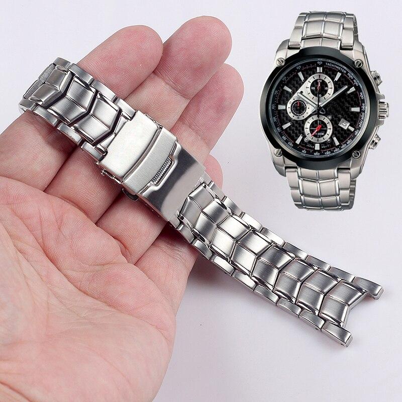 ee4bbbd21365 Sólido de acero inoxidable correa de reloj para Casio EF-524 banda de reloj  hombres
