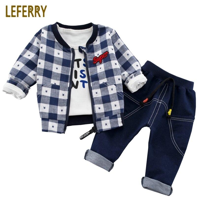 3 יחידות ילדים בגדי בני פעוט חליפות בני בגדי סטים להאריך ימים יותר מעיל + T חולצה + ג 'ינס מכנסיים סטים עבור ילדי בני אופנה 2018