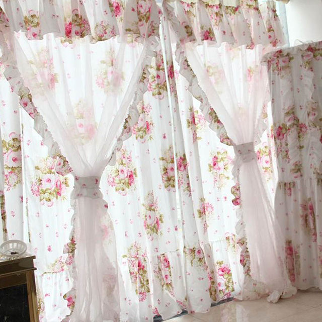 Helen Curtain American Style Flower Curtains For Living Room 2 Layers Door  Short Kids Curtains Girlu0027s Pink Kitchen Curtains 017