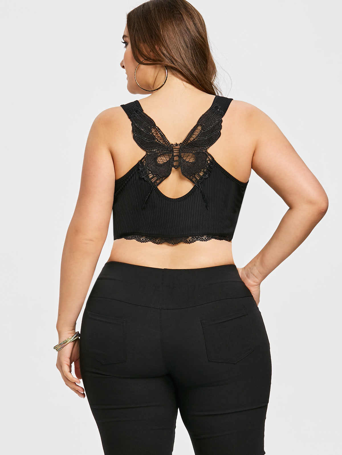b7f4ce15ed9 Gamiss Women Plus Size 5XL Butterfly Appliqued Crop U Neck Tank Top Summer  Fashion Sleeveless Lace Trim Crop Tops Big Size Tops