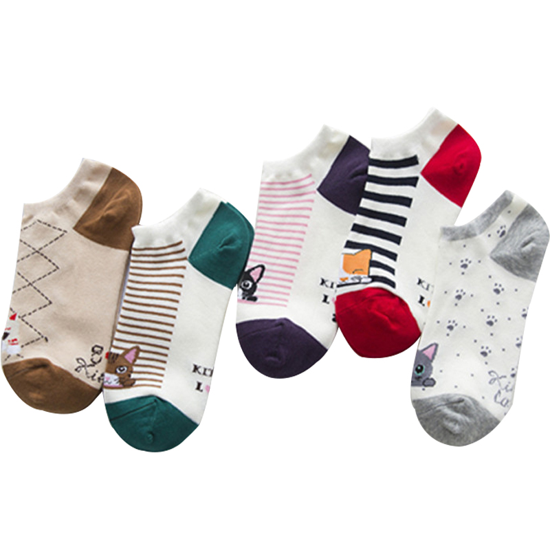 Spring & Summer Women Socks Female Fashion Cotton Boat Socks 15 Kinds Of Color Cartoon Cat Girls Socks 10pcs=5pairs/lot