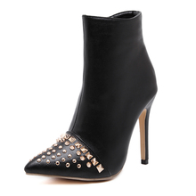 Spring Autumn Women Shoes Womens Boots Big Size 2016 Roma Style Rivets High Heels Woman Pumps Ladies Short Ankle Boots Zip Black