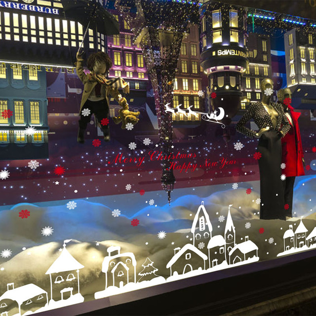 [Fundecor] diy home decor new snow town christmas wall stickers window glass decorative wall decal adornos navidad 2017