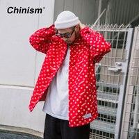 CHINISM 2018 зима с принтом утепленная рубашка мужская Повседневное свободные хип хоп рубашки в уличном стиле хлопковая подкладка Теплые стильн